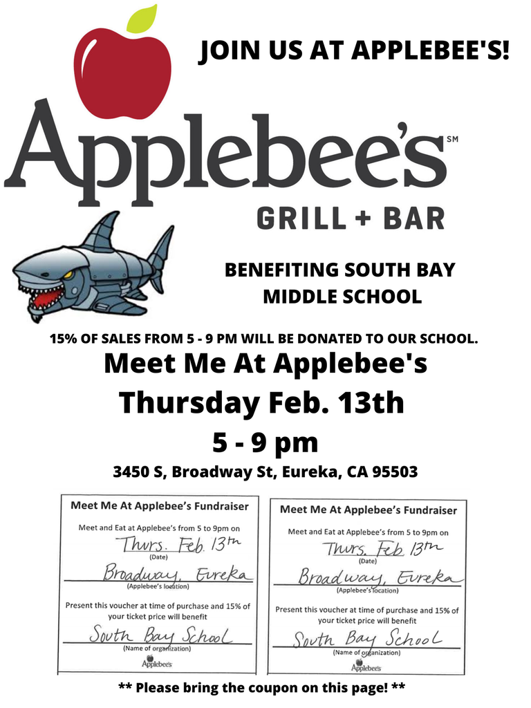 Please join us tomorrow (Thursday, February 13th) at Applebee's. A portion of sales from 5 - 9 pm will be donated to our school for the 8th-grade trip to San Francisco! Once again, we really appreciate all the fundraising help!